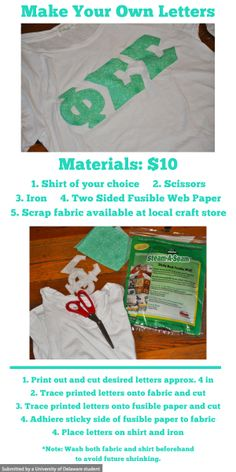 Why spend $$ on fraternity and sorority shirts when you can do it yourself! #letters #DIY
