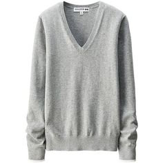 UNIQLO Women Idlf Cotton Cashmere V-Neck Sweater ($30) ❤ liked on Polyvore featuring tops, sweaters, deep v neck top, cotton cashmere sweater, deep v neck sweater, v-neck tops y textured sweater