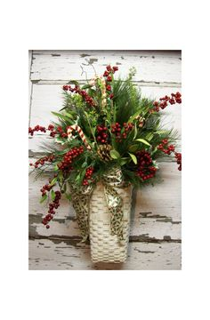 Christmas floral decor.  Think I want to make one to hang on my porch