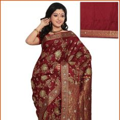 Red Art Silk Saree With Blouse