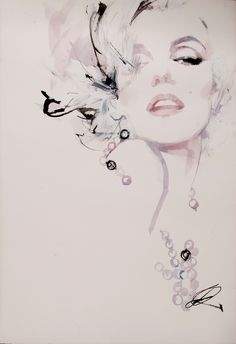 David Downton - Marilyn Monroe | From a unique collection of figurative drawings and watercolors at http://www.1stdibs.com/art/drawings-watercolor-paintings/figurative-drawings-watercolors/