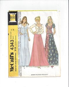 McCall's 4343 Pattern for Misses' Blouse & Skirt, Size 16, From 1974, Carefree Pattern, Vintage Pattern, Home Sewing Pattern, 1974 Fashion