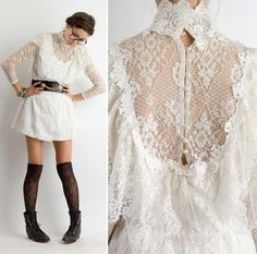 Vintage Lace White Dress - There's not any way to do it than just wearing a lace dress, if you'd like to attain that femin Mode Lookbook, Fashion Lookbook, Vintage Outfits, Vintage Dresses, Lace Dresses, Dress Lace, Edgy Dress, The Dress, Bohemian Mode