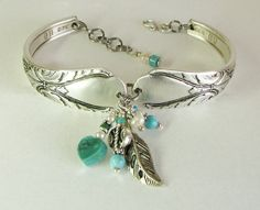 Silver Spoon Bracelet, Avalon 1940, Turquoise Beads, White Pearls, Silver Heart, Antique Silver Leaf. $35.00, via Etsy.