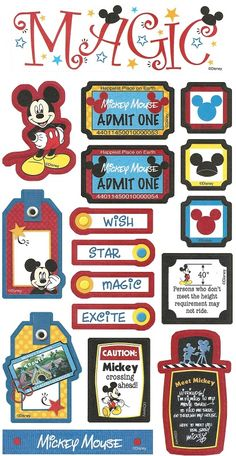 MEET MICKEY MOUSE MAGIC KINGDOM DISNEY WORLD PUNCH OUTS SHEET SAY CHEESE HAPPY ETC | Scrapping The Magic