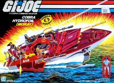 "A boxed ""Moray"" Cobra hydrofoil assault boat, with Lamprey action figure, from the G.Joe line of toys Retro Toys, Vintage Toys, 1980s Toys, Gi Joe Vehicles, Gi Joe Cobra, Childhood Toys, Childhood Memories, Classic Toys, Old Toys"