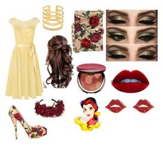 """Belle inspired prom look"" by ilovepugsandteal on Polyvore featuring Kaliko, Dolce&Gabbana, tarte, Stella & Dot, Kate Spade and Prom"