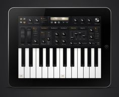 Conceptual Synthesizer Application for the iPad with a black polished aluminium and rubber UI and some shiny anisotropic dial buttons. Made entirely with Photoshop except for the mod/pitch wheels wich is made with Cinema 4d.