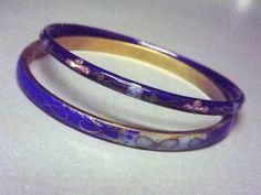 Cloisonne Bracelets Cobalt Blue Vintage Jewelry by STLvintage, $15.00
