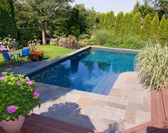 ALKA POOL - This Lazy L shaped pool has a beautiful custom blended color quartz finish that blends well into the entertaining focus of the backyard.