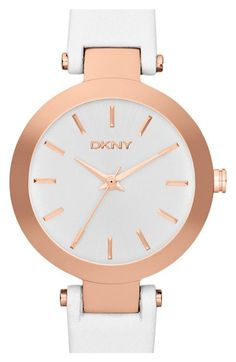 DKNY 'Stanhope' Leather Strap Watch, 28mm available at #Nordstrom