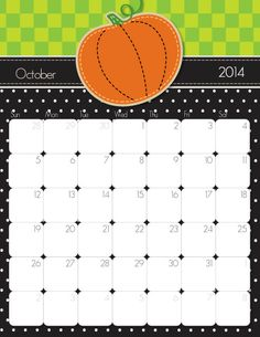 FREE Printable 2014 Monthly Calendars...