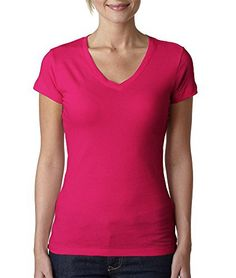 Next Level Womens The Sporty V-Neck 3400L-Raspberry-X-Larg