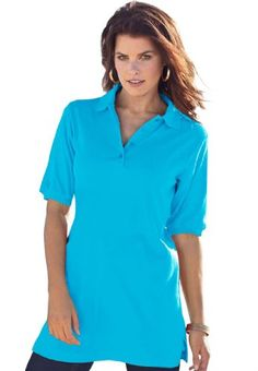 Roamans Plus Size Oversized Polo