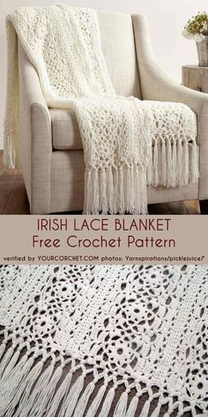 Irish Lace Blanket Free Crochet Pattern This beautiful lace blanket can be a perfect wedding gift. With a little effort you will get spectacular and elegant cover for yourself or your Crochet Motifs, Afghan Crochet Patterns, Baby Knitting Patterns, Crochet Afghans, Blanket Crochet, Baby Afghans, Lace Patterns, Crochet Shawl, Free Knitting