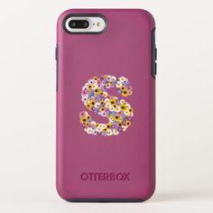 Monogram letter S OtterBox Symmetry iPhone 8 Plus/7 Plus Case - flowers floral flower design unique style