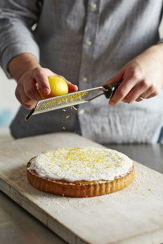Coconut & Lemon Bakewell Tart ~ shortcrust pastry with lemon curd & coconut frangipane filling, plus coconut-lemon icing | from John Whaite of #GBBO