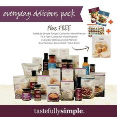 Amazing collection of products that you can save $50 off right now! Www.tastefullysimple.com /web/sdunson