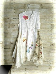Pink Sunshine Shabby Funky ragdoll upcycled patchwork eyelet floral rustic Boho altered Clothing dress top tunic artsy lagenlook L XL Boho Outfits, Pretty Outfits, Dress Outfits, Country Dresses, Altered Couture, Shirt Refashion, Apron Dress, Dressy Tops, Handmade Dresses
