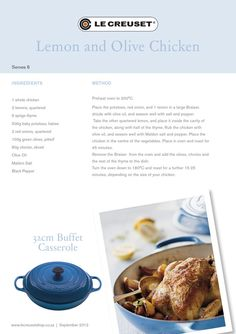 Le Creuset Recipes - Lemon and Olive Chicken Wine Recipes, Great Recipes, Cooking Recipes, Staub Recipe, Braiser Recipes, Dutch Oven Recipes, Le Creuset, Yummy Eats, Love Food