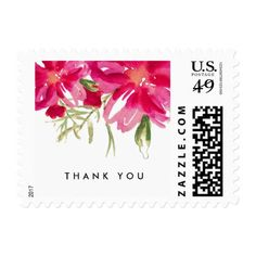 Thank You Floral Watercolor Postage Stamps - wedding thank you gifts cards stamps postcards marriage thankyou