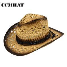 1fbf2f89a8 Summer Style Straw Cowboy Hat Unisex Hollow Western Hats 2015 Beach ...