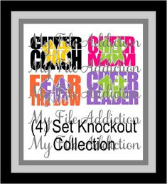 Instant Download Vinyl and Rhinestone SVG EPS Design File Cheer Knockout Bow (4) Set Collection Coach, Mom, Cheerleader and Fear the Bow
