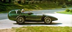 Stuart Lewis Evens in a Vanwall, during a practice session during the 1957 French GP.
