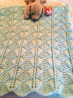 Hand Knit Soft Green Baby Receiving Blanket Caron Simply Soft Yarn