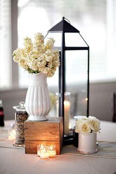 centerpieces. good balance of heights and textures. #woodenbox #lantern