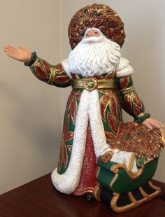 Mom had one very similar, handmade and given to her as a gift which she set on her table every Christmas. Bisque Pottery, Ceramic Bisque, Vintage Santa Claus, Vintage Santas, Father Christmas, Christmas Diy, Merry Christmas, Christmas Tree Ornaments, Christmas Decorations
