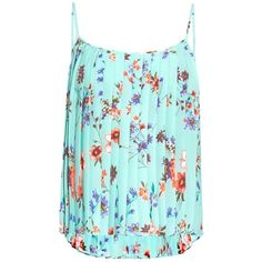 Raey Floral-print pleated cami top ($285) ❤ liked on Polyvore featuring tops, green print, camisoles & tank tops, green tank top, floral tank, floral print tank top and green top