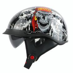 68.00$  Buy here - http://alinr1.worldwells.pw/go.php?t=32689532904 - New arrival brand THH vintage half helmet Retro scooter helmet Cool skull motorcycle helmet with Internal visor DOT moto casco 68.00$