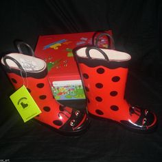NEW WESTERN CHIEF RED LADY BUG GIRLS RAIN BOOTS YOUTH SIZE 11 WITH BOX #WesternChief #LADYBUGRAINBOOTS