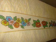 Toalha de banho - pintura com giz de cera