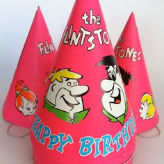 15 Vintage The Flintstones Happy Birthday Party Hats 1969 Hanna-Barbera Productions by theplunderdome on Etsy