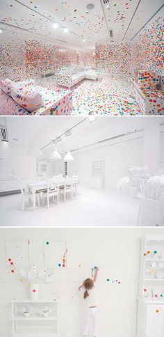 The Obliteration Room is a temporary interactive installation by Yayoi Kusama. The installation recreates an Australian domestic environment in/as a gallery space. The white room is gradually obliterated over the course of the exhibition, the space changing measurably with the passage of time as the dots accumulate as a result of thousands and thousands of collaborators.