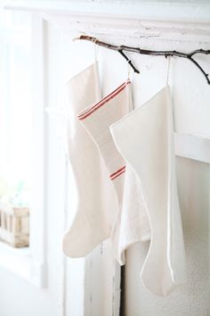 dreamy whites - antique french white linen christmas stockings