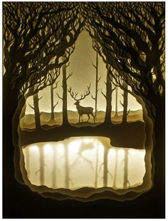 The Golden Stag. - Hari & Deepti are an artist couple who create paper cut light boxes. Each diorama is made from layers of cut watercolor paper placed inside a shadow box and is lit from behind with flexible LED light strips. Kirigami, Shadow Box Kunst, Shadow Box Art, Paper Cutting, Cut Paper, Paper Art, Paper Crafts, Paper Book, Licht Box