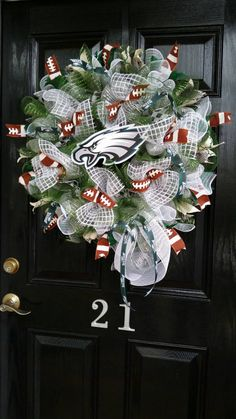 Philadelphia Eagles Wreath, NFL, Poly Mesh Wreath, Eagles ...