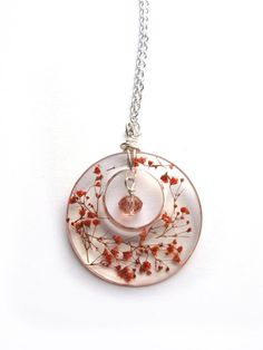 Real Baby Breath Necklace Orange Babys Breath Statement Necklace Pressed Flower Jewelry Resin Necklace Wire Wrapped Pendant Donut Pendant