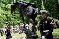 A life-size statue of Reckless at the National Museum of the Marine Corps in Triangle, VA.  Reckless is the only horse to become a Marine sergeant.