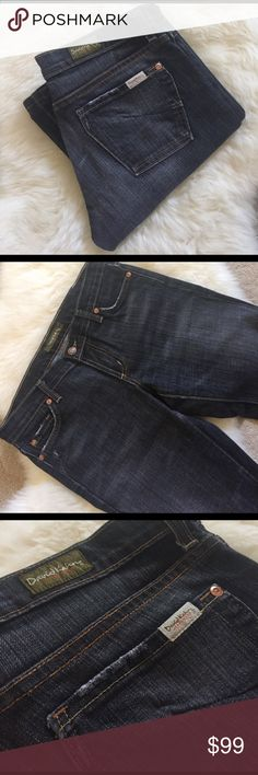 """David Kahn 'Heidi' Distressed Boot Cut Jeans Lightly distressed black/gray boot cut jeans by David Kahn with zip fly and button closure, 5 pocket styling and 5 belt loops. * Length has been altered and there is slight sign of wear in hems- small part of stitching at hems is coming undone - please see last photos. Waist 31"""", Rise 7.5"""", Inseam 31.5"""". David Kahn Jeans Boot Cut"""