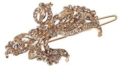 L. ERICKSON CRYSTAL WHIMSICAL BUTTERFLY TIGE BOULE BARRETTE