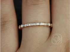 Rosados Box Baguettella Rose Gold Thin Horizontal Baguette Diamond Eternity Band -- stackable recycled gold, American Made, conflict-free diamonds Full Eternity Ring, Eternity Ring Diamond, Eternity Bands, Bling Bling, The Bling Ring, Anillo Michael Kors, Baguette Ring, Baguette Diamond Band, Baguette Eternity Band