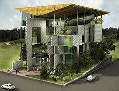 """Office Complex for Delhi Pollution Control Committee Proposal / M:OFA Studios   """" As an example of what the design preaches, here the building acts as an 'Urban Sponge' feeding on polluted air & water of its micro-climate and gives out clean air & water back to the Environment much like the Aquatic sponge which feeds on bacteria and gives out nutrients and oxygen."""""""