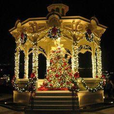 Christmas Light on Gazebo / Outdoor Christmas Lights Christmas Lamp, Christmas Light Displays, Christmas Porch, Christmas Scenes, Noel Christmas, Merry Little Christmas, Merry Christmas And Happy New Year, Outdoor Christmas Decorations, Holiday Lights