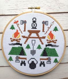 This pattern set features the June 2016 RagTagBox.com cross stitch pattern, CAMPING! It also features a super secret alternative pattern! shhhhhh....you have to download to find out! Finished, this pi