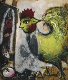 Marc Chagall「Le coq, Peintre sur les toits」(1949)