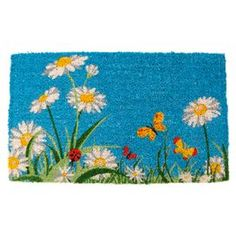 """Welcome family and friends to your home with this lovely doormat, the perfect ornament for your doorstep or entryway.   Product: DoormatConstruction Material: Coconut fiberColor: BlueFeatures:  Made in IndiaHand-stenciled with permanent fade-resistant dyes Dimensions: 1'6"""" x 2'6"""""""